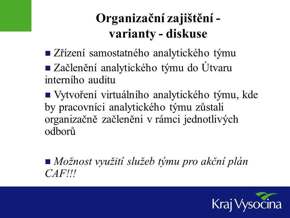 Organizační zajištění - varianty - diskuse