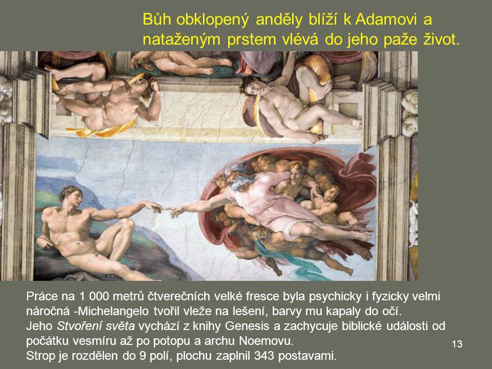 Bůh obklopený anděly blíží k Adamovi a nataženým prstem vlévá do jeho paže život.