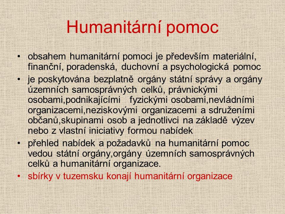 Humanitární pomoc obsahem humanitární pomoci je především materiální, finanční, poradenská, duchovní a psychologická pomoc.