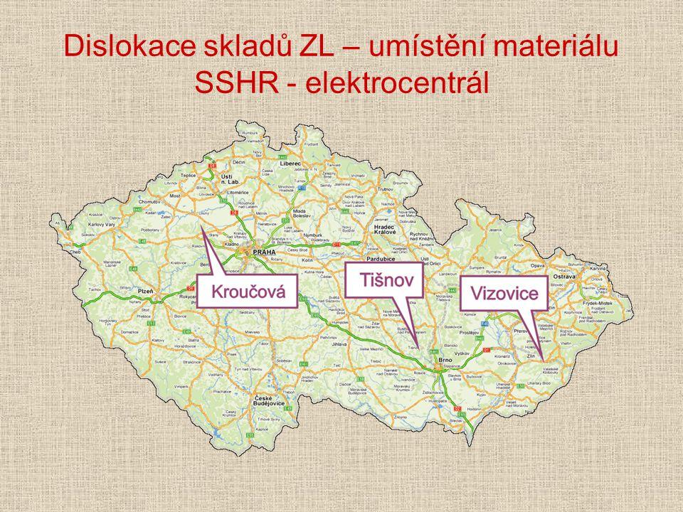 Dislokace skladů ZL – umístění materiálu SSHR - elektrocentrál