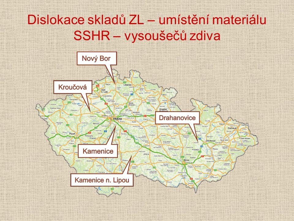 Dislokace skladů ZL – umístění materiálu SSHR – vysoušečů zdiva