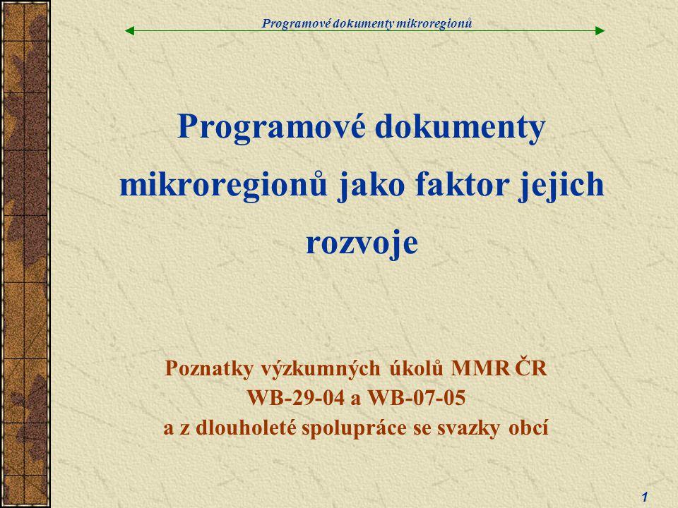 Programové dokumenty mikroregionů jako faktor jejich rozvoje