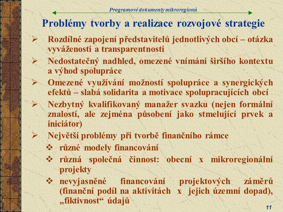 Problémy tvorby a realizace rozvojové strategie