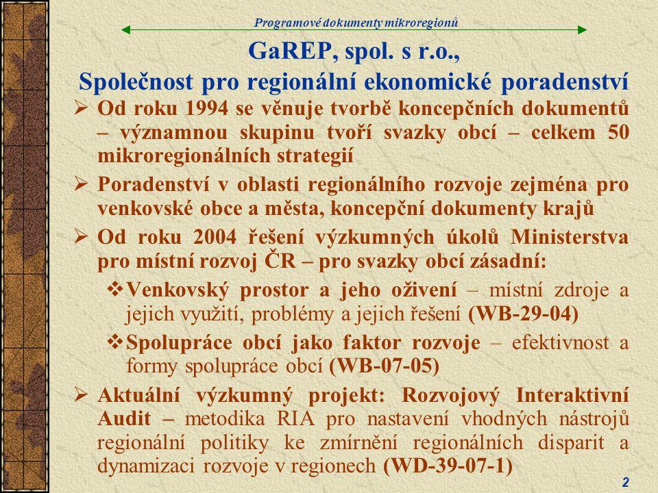 GaREP, spol. s r.o., Společnost pro regionální ekonomické poradenství