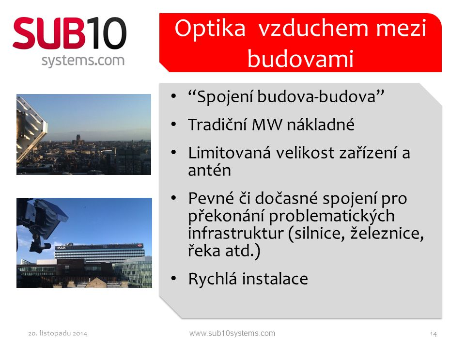 Optika vzduchem mezi budovami