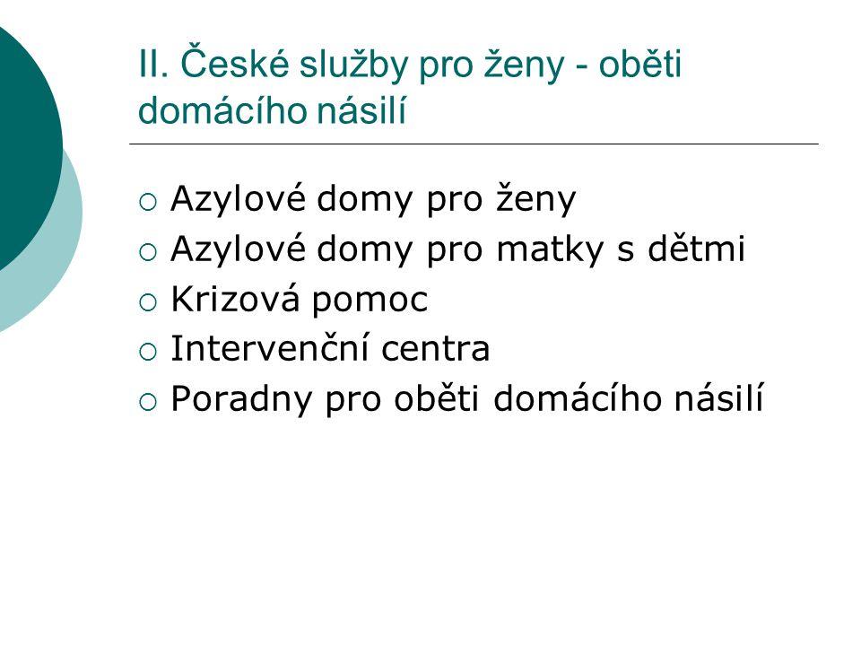 II. České služby pro ženy - oběti domácího násilí
