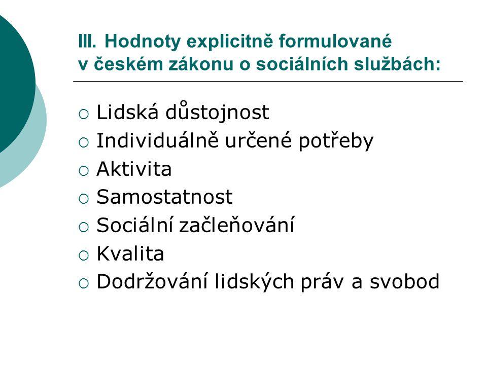 Individuálně určené potřeby Aktivita Samostatnost Sociální začleňování