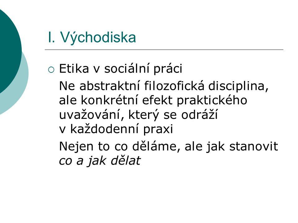 I. Východiska Etika v sociální práci