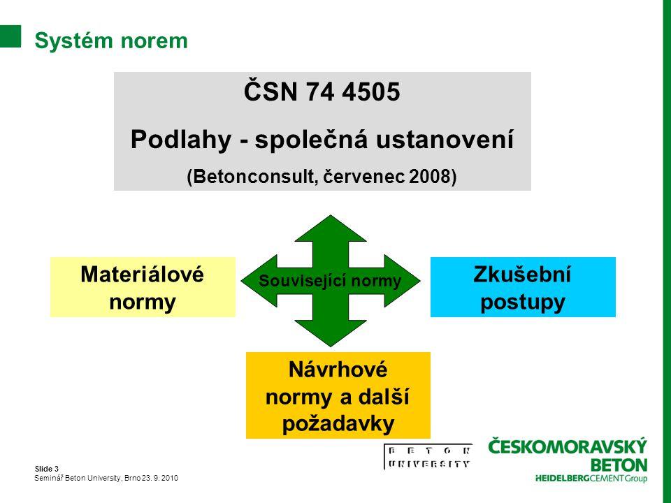 ČSN 74 4505 Podlahy - společná ustanovení