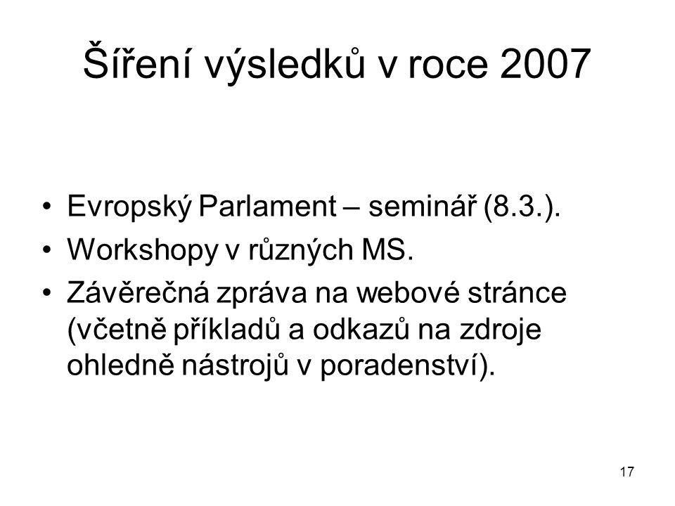 Šíření výsledků v roce 2007 Evropský Parlament – seminář (8.3.).