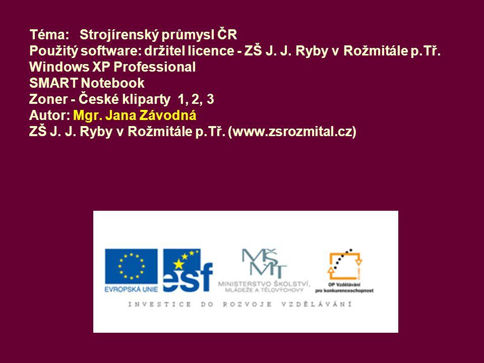 Téma: Strojírenský průmysl ČR Použitý software: držitel licence - ZŠ J