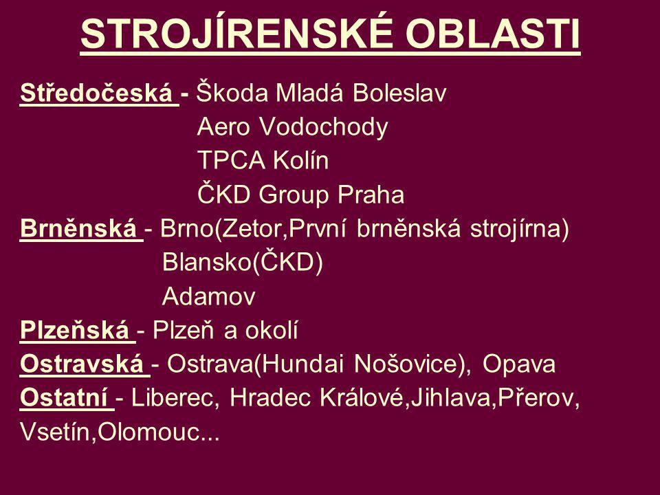 STROJÍRENSKÉ OBLASTI Středočeská - Škoda Mladá Boleslav Aero Vodochody
