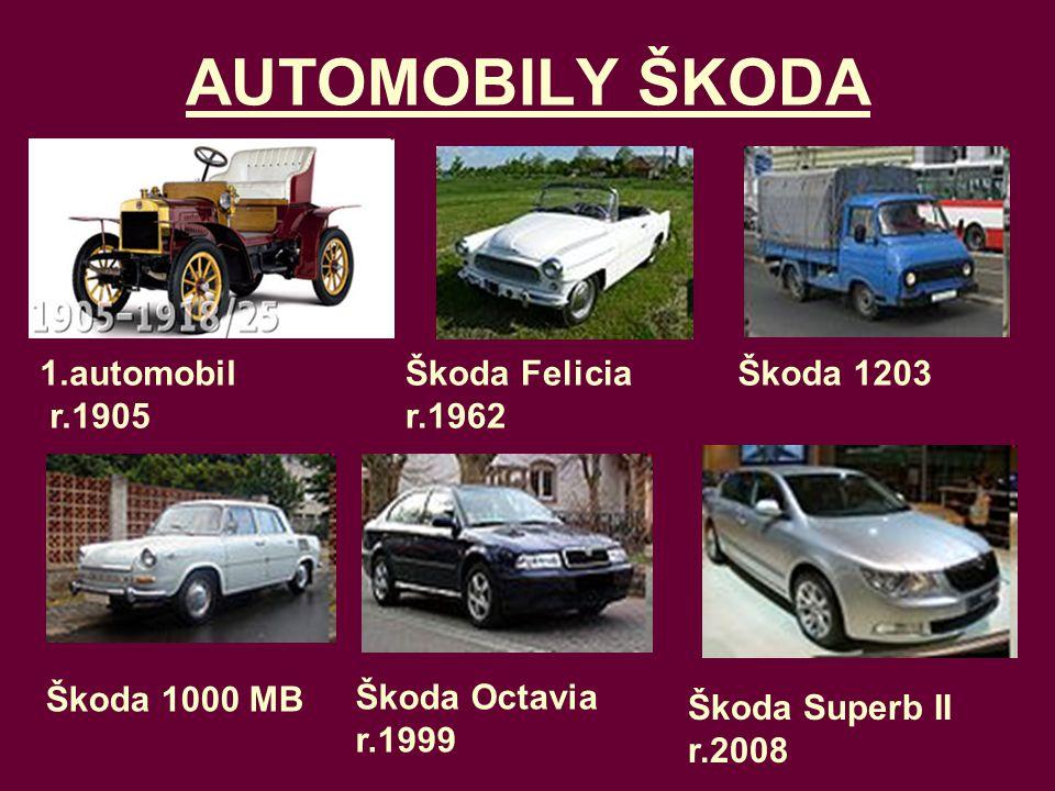AUTOMOBILY ŠKODA 1.automobil r.1905 Škoda Felicia r.1962 Škoda 1203