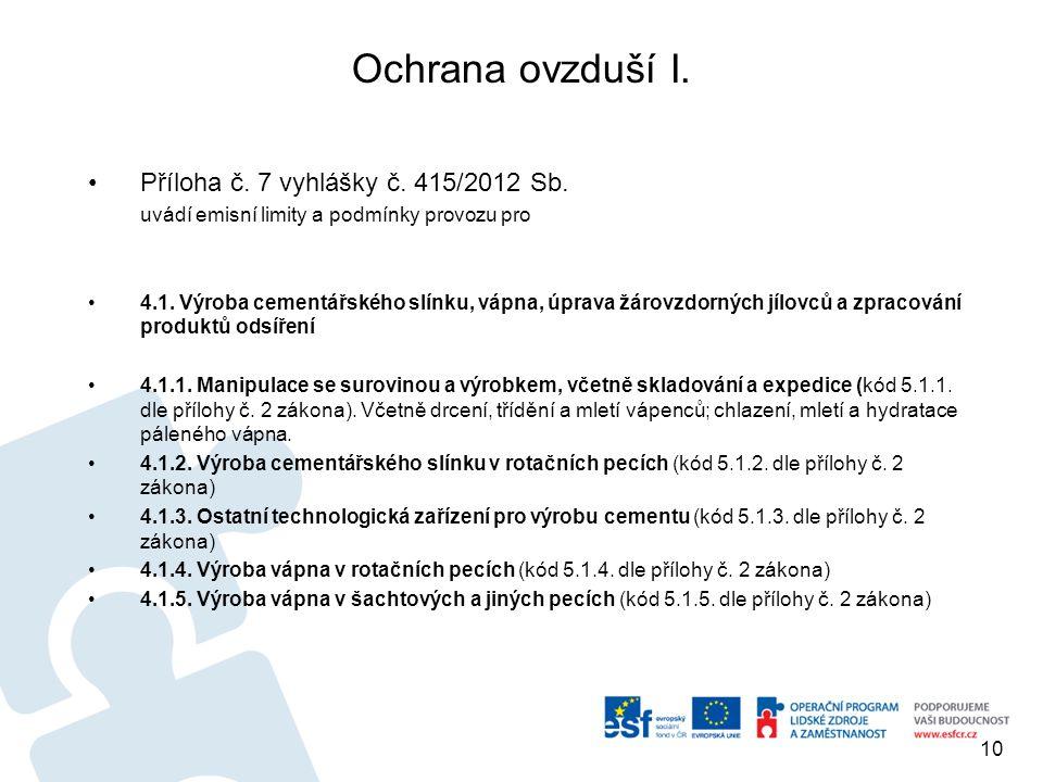Ochrana ovzduší I. Příloha č. 7 vyhlášky č. 415/2012 Sb.