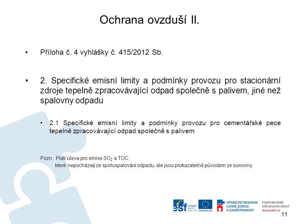 Ochrana ovzduší II. Příloha č. 4 vyhlášky č. 415/2012 Sb.
