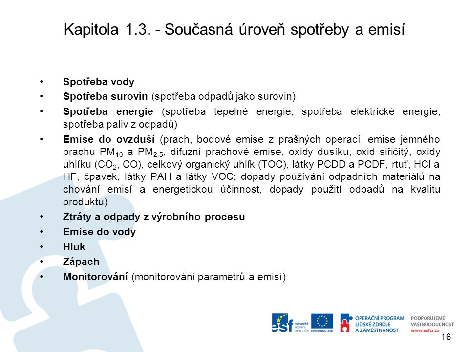 Kapitola 1.3. - Současná úroveň spotřeby a emisí