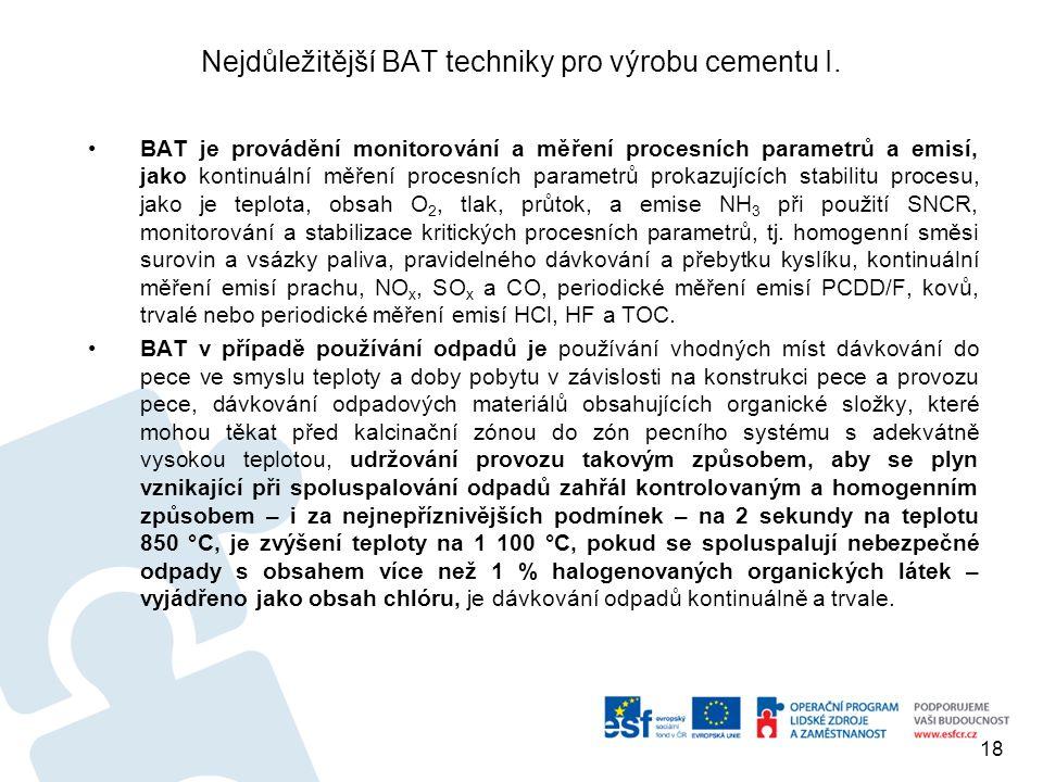 Nejdůležitější BAT techniky pro výrobu cementu I.