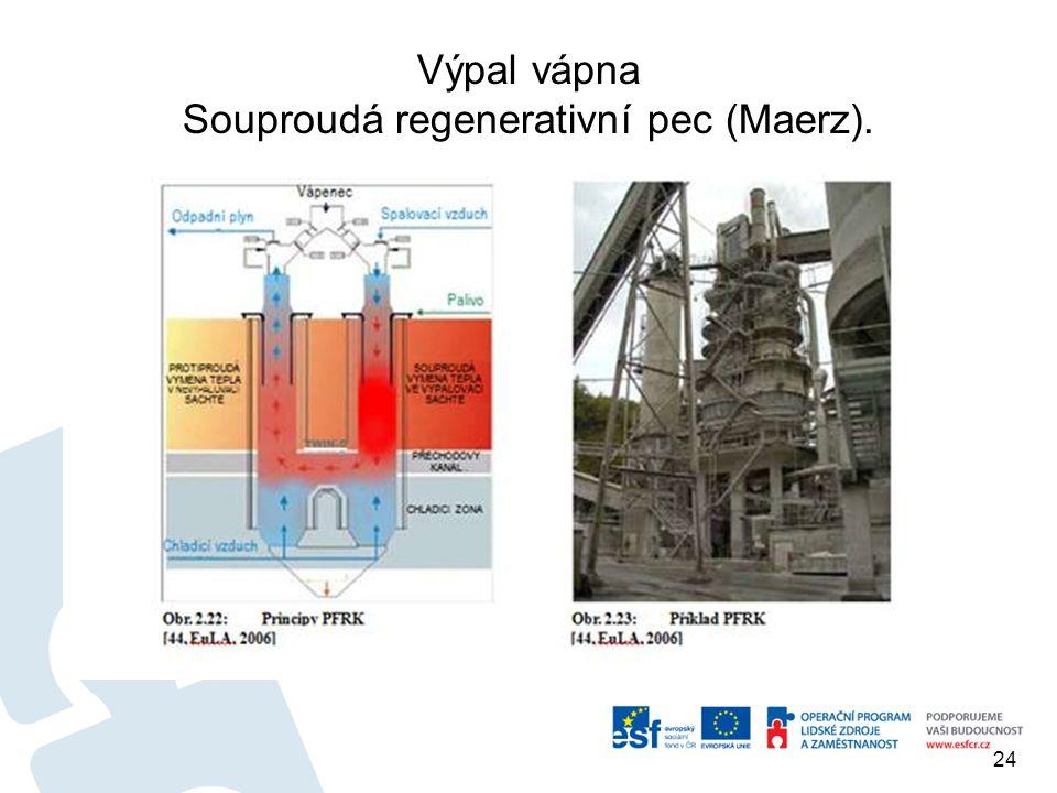 Výpal vápna Souproudá regenerativní pec (Maerz).
