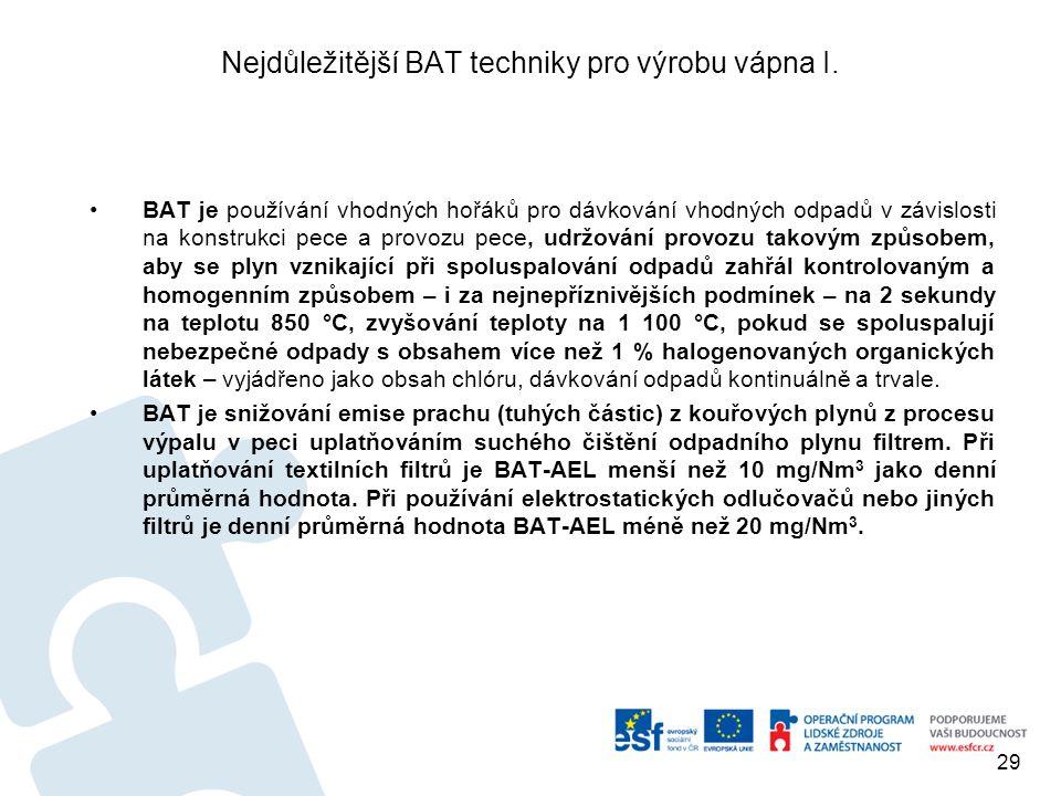 Nejdůležitější BAT techniky pro výrobu vápna I.