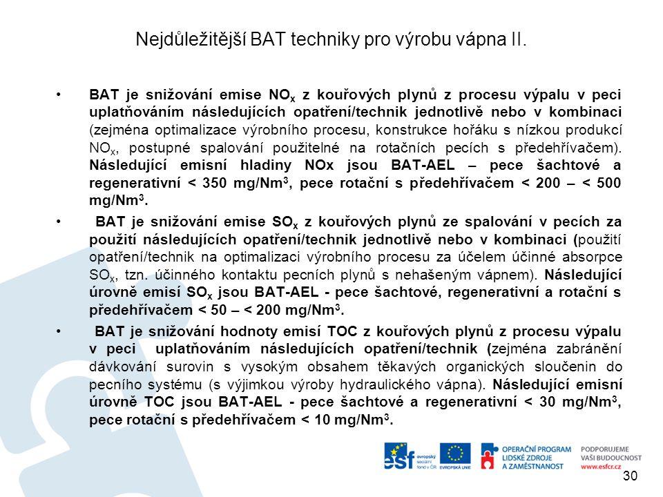 Nejdůležitější BAT techniky pro výrobu vápna II.