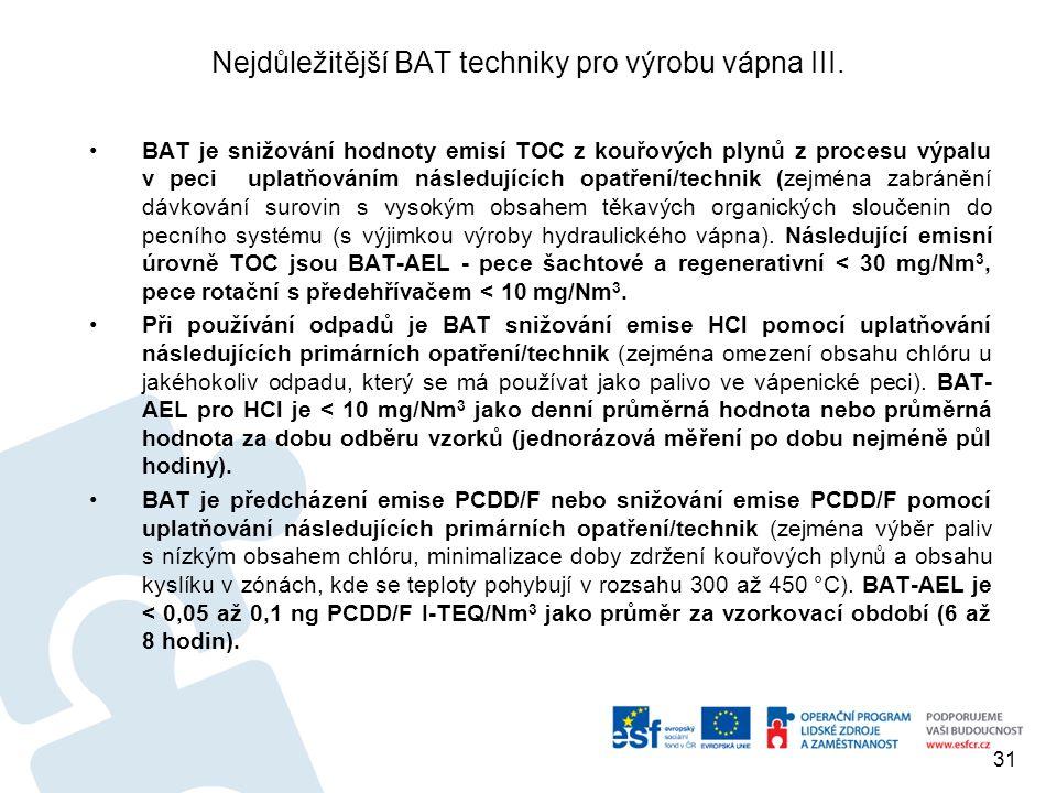Nejdůležitější BAT techniky pro výrobu vápna III.