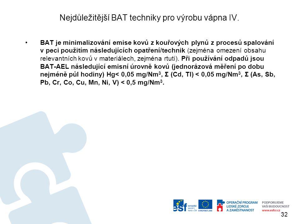 Nejdůležitější BAT techniky pro výrobu vápna IV.