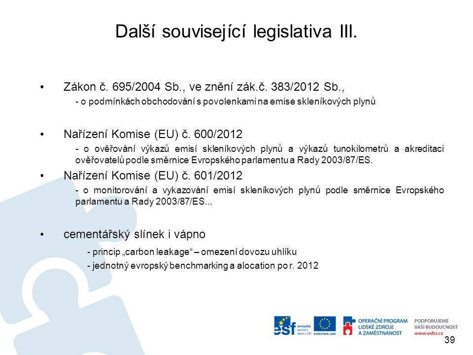 Další související legislativa III.