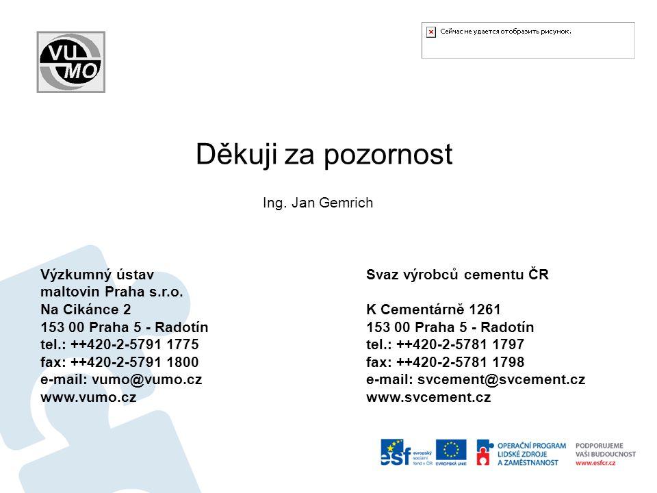 Děkuji za pozornost Ing. Jan Gemrich Výzkumný ústav