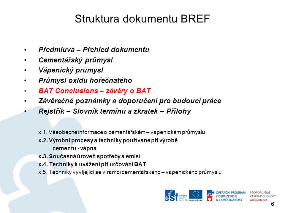 Struktura dokumentu BREF