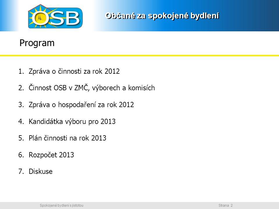 Program Zpráva o činnosti za rok 2012
