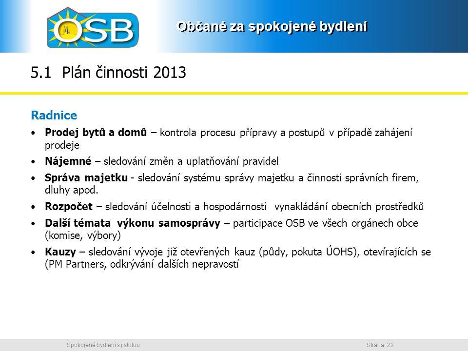 5.1 Plán činnosti 2013 Radnice. Prodej bytů a domů – kontrola procesu přípravy a postupů v případě zahájení prodeje.