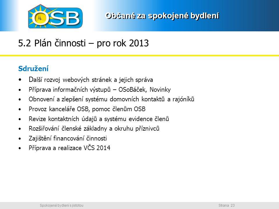5.2 Plán činnosti – pro rok 2013 Sdružení