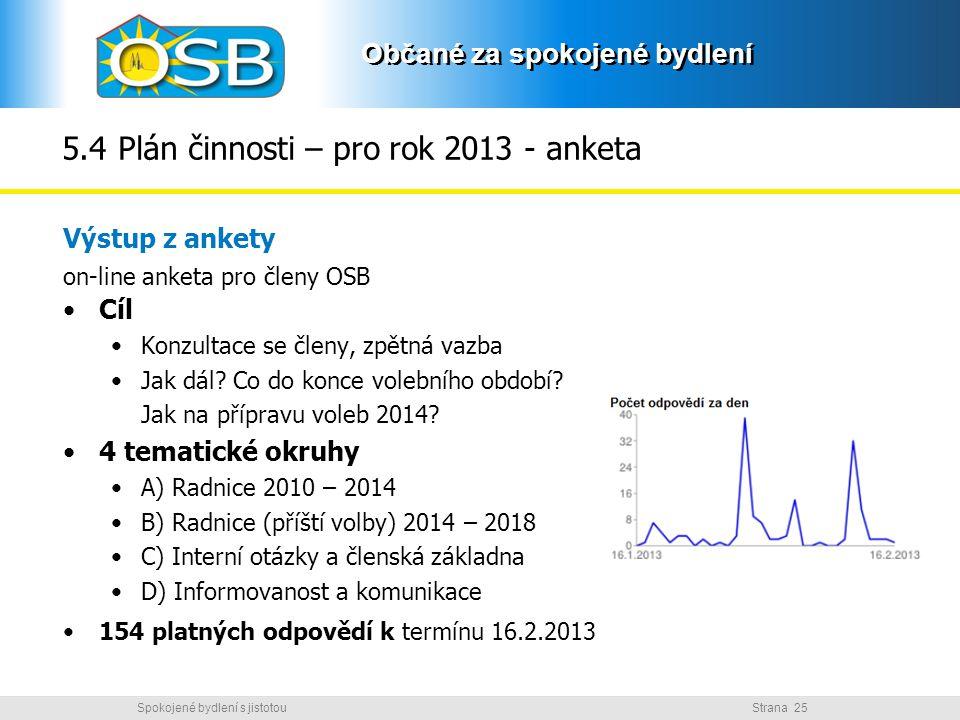 5.4 Plán činnosti – pro rok 2013 - anketa