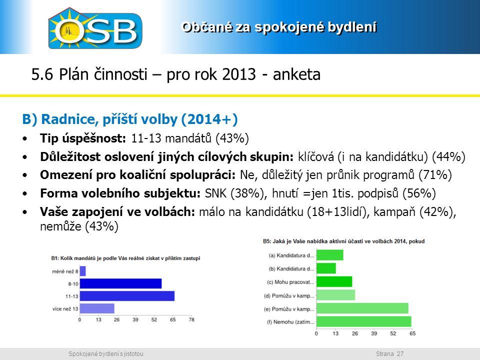 5.6 Plán činnosti – pro rok 2013 - anketa