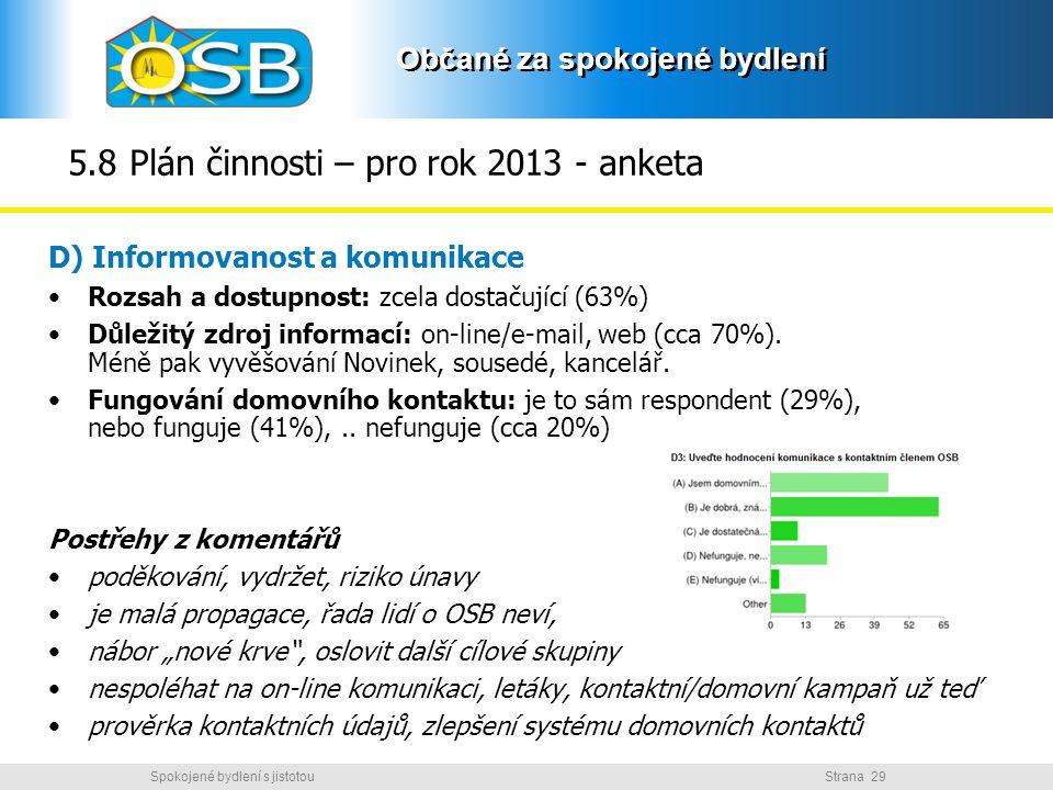 5.8 Plán činnosti – pro rok 2013 - anketa