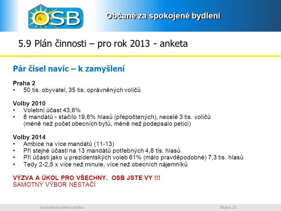 5.9 Plán činnosti – pro rok 2013 - anketa