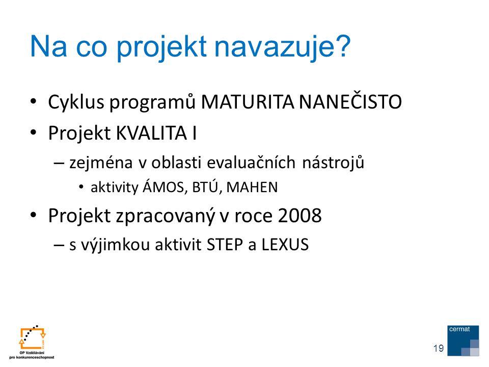 Na co projekt navazuje Cyklus programů MATURITA NANEČISTO
