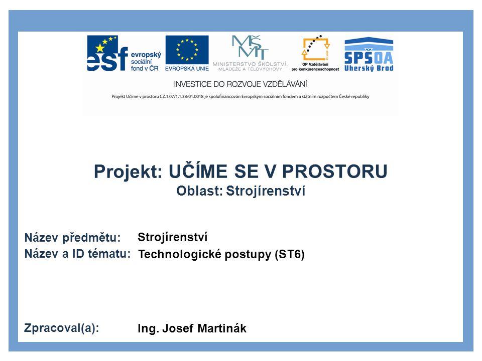 Strojírenství Technologické postupy (ST6) Ing. Josef Martinák