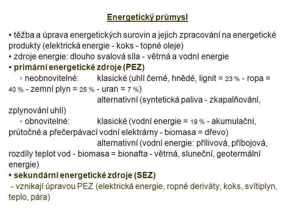 produkty (elektrická energie - koks - topné oleje)