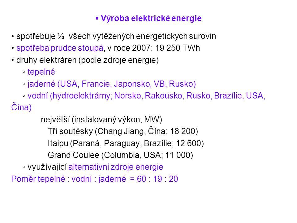 ▪ Výroba elektrické energie