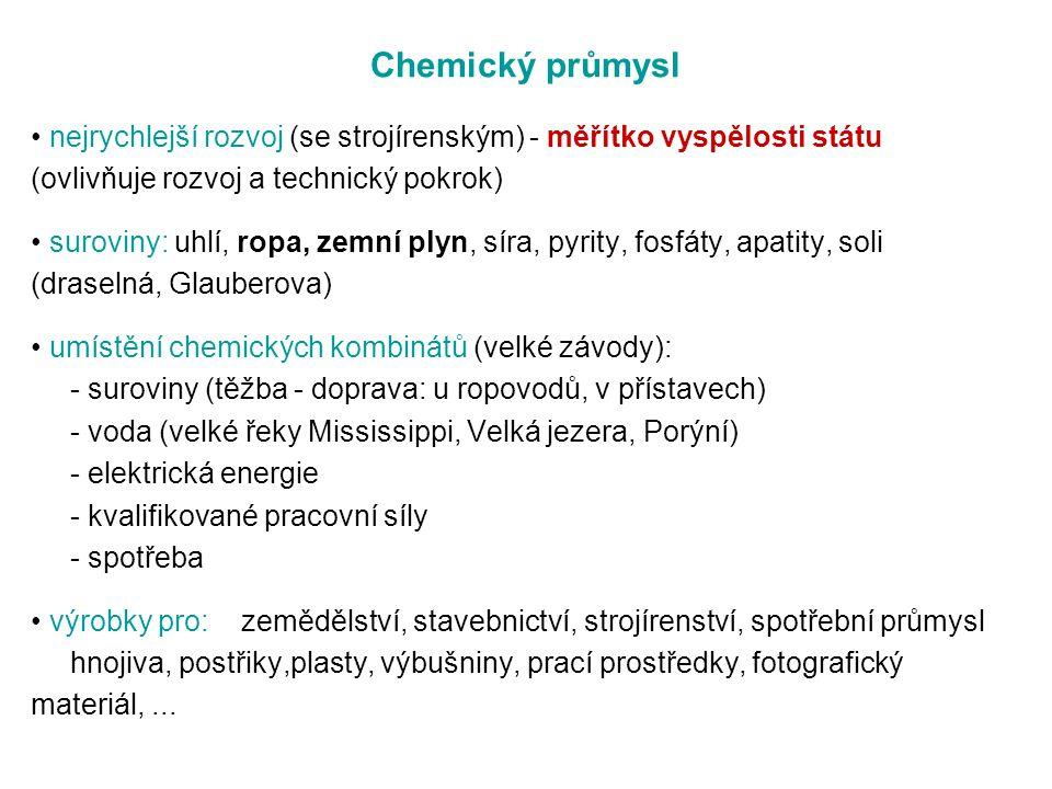 Chemický průmysl • nejrychlejší rozvoj (se strojírenským) - měřítko vyspělosti státu. (ovlivňuje rozvoj a technický pokrok)