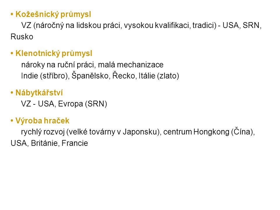 • Kožešnický průmysl VZ (náročný na lidskou práci, vysokou kvalifikaci, tradici) - USA, SRN, Rusko.