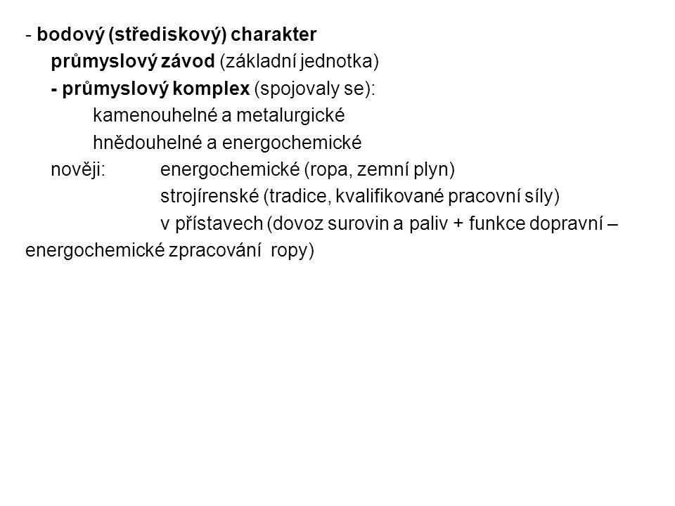 - bodový (střediskový) charakter