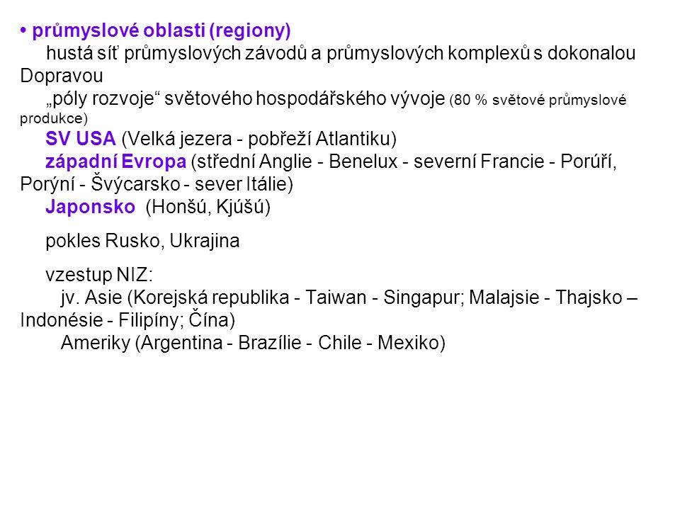 • průmyslové oblasti (regiony)