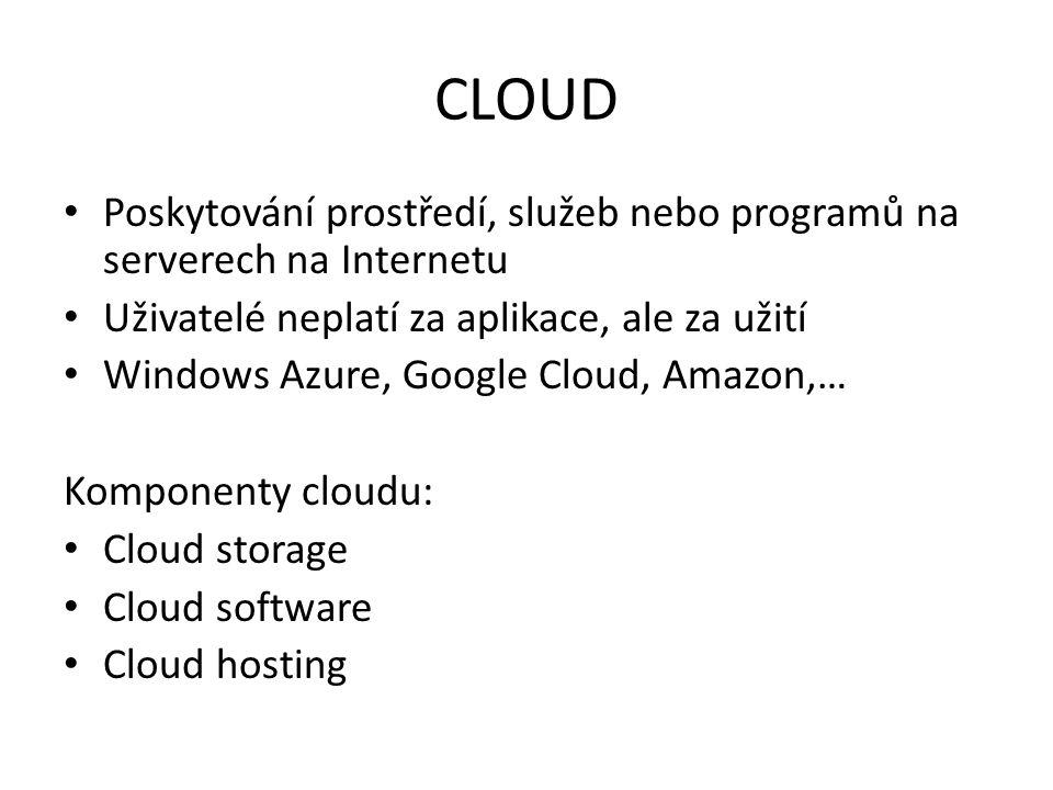 CLOUD Poskytování prostředí, služeb nebo programů na serverech na Internetu. Uživatelé neplatí za aplikace, ale za užití.
