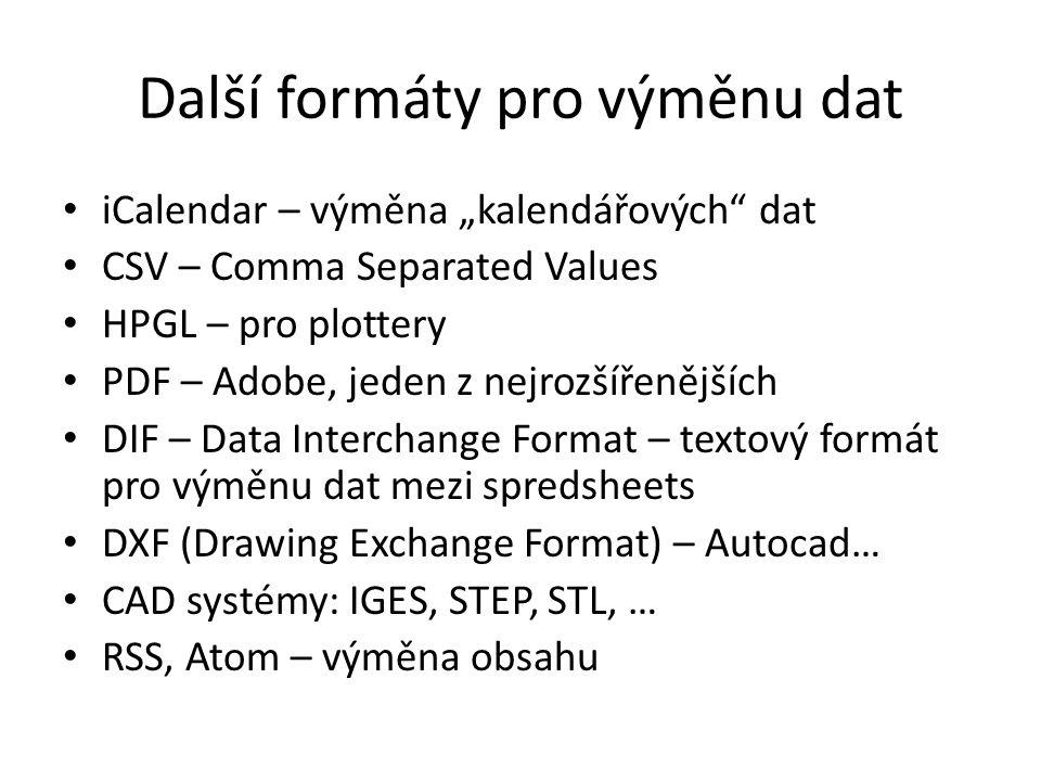 Další formáty pro výměnu dat