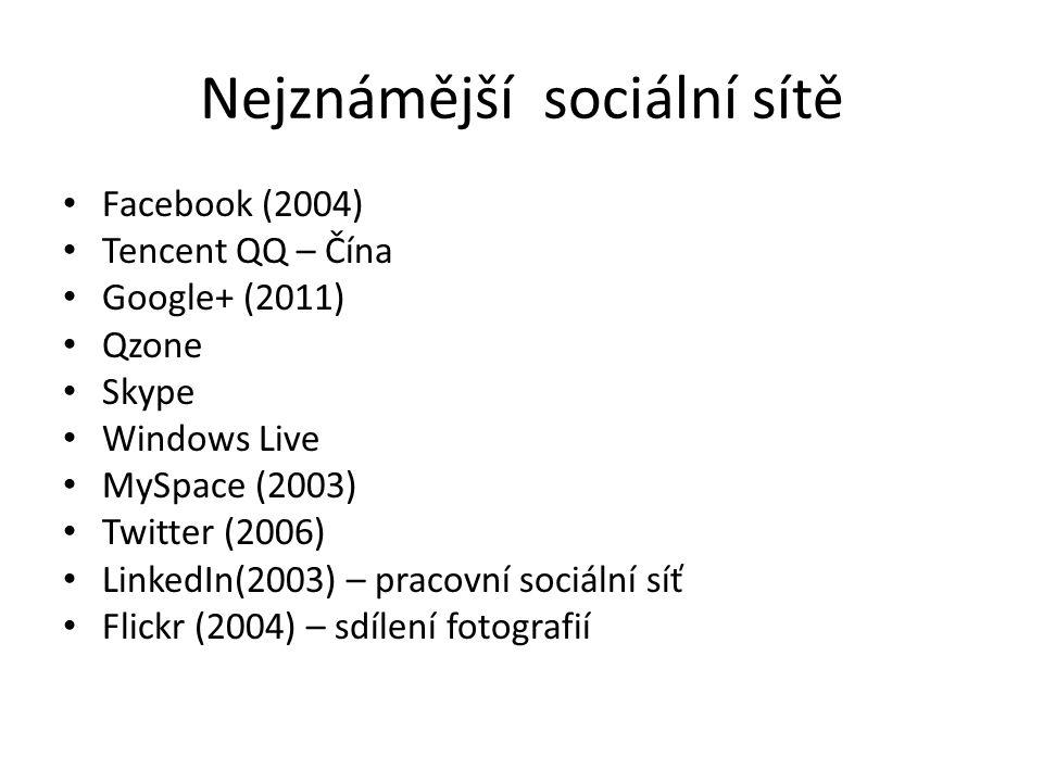 Nejznámější sociální sítě