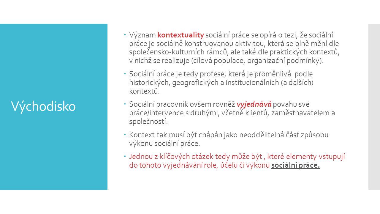 Význam kontextuality sociální práce se opírá o tezi, že sociální práce je sociálně konstruovanou aktivitou, která se plně mění dle společensko-kulturních rámců, ale také dle praktických kontextů, v nichž se realizuje (cílová populace, organizační podmínky).