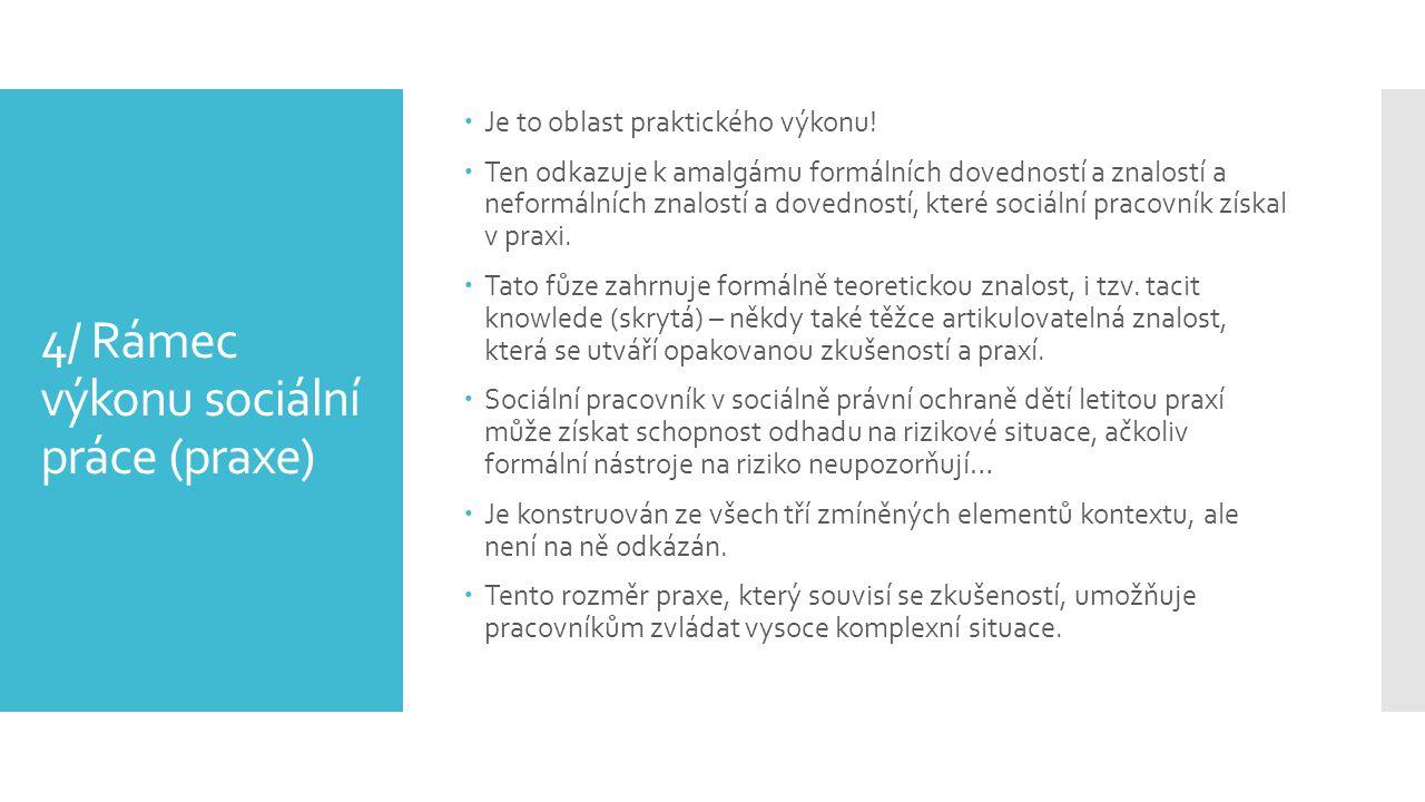4/ Rámec výkonu sociální práce (praxe)
