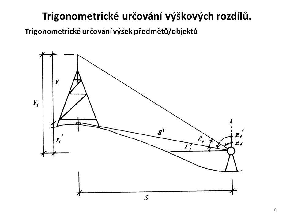 Trigonometrické určování výškových rozdílů.